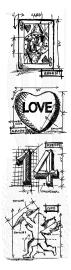 Stampers Anonymous/Tim Holtz - Cling Mount Stamp Set - Valentine Mini Blueprints Strip - THMB004